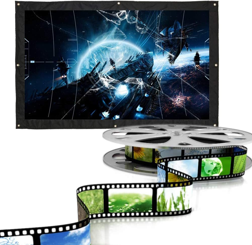 Jacksking Projection Screen, 16:9 Indoor Folding Outdoor Film Theater Movie Projection Screen Curtain Video Player Projector Matte(White)(150)