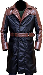 Men's Jacob Game Cosplay Costume Brown & Black Leather Trench Coat Jacket