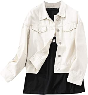 Howely Women's Button-up Solid Color Basic Style Jean Jacket Short Denim Coat