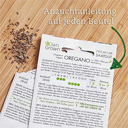 Kräuter Samen Set von OwnGrown, 12 Sorten Küchenkräuter als praktisches Kräutersamen Set, Gewürzsamen und Kräuterset für Küche und Balkon, 12er Box - 5
