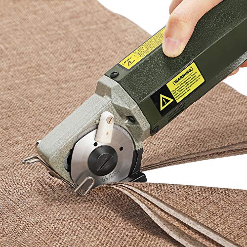 CGOLDENWALL YJ-50 Electric Rotary Fabric Cutter Cloth Cutting Machine Electric Rotary Scissors for 0.79 inch Multi-Layer Cloth Fabric Leather Wool with Spare Blade 110V