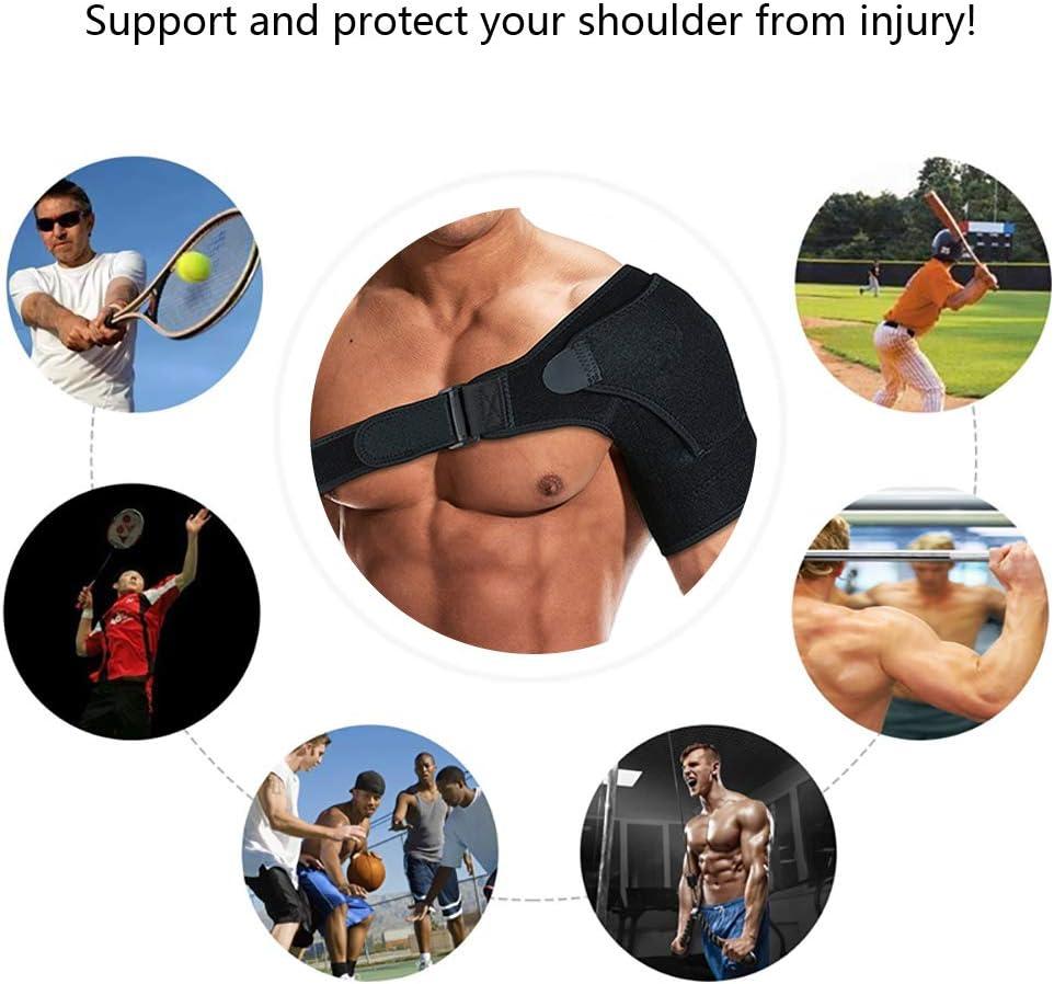 Shoulder Support Brace with Pressure Pad for Men Women, Adjustable Shoulder Brace for Torn Rotator Cuff, Tendonitis, Dislocation, AC Joint, Bursitis, Labrum Tear, Pain, Fits Right or Left Shoulder : Health & Household