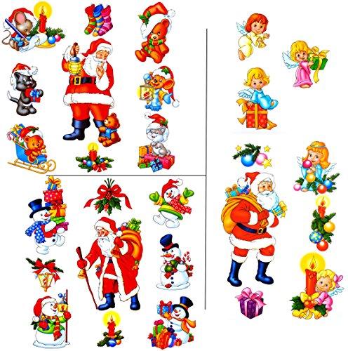 alles-meine.de GmbH 27 TLG. Set _ Fensterbilder -  Winter & Weihnachtsmotive  - statisch haftend - selbstklebend + wiederverwendbar / Weihnachten - Sticker Fenstersticker Aufkl..