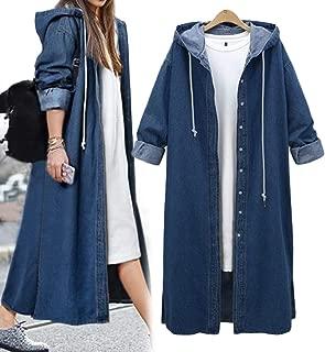 Women's Long Sleeve Plus Size Long Jean Jacket Denim Windbreaker Outwear Coat with Hood