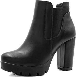 Women's Chunky High Heel Platform Zipper Chelsea Boots
