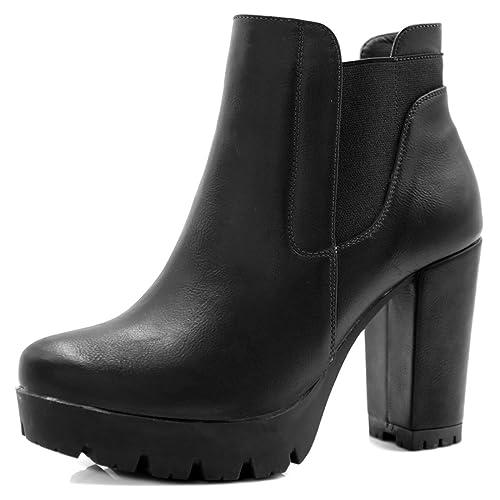 de5f07b6f76 Allegra K Women s Chunky High Heel Platform Zipper Chelsea Boots