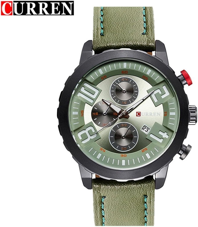 Grand Dial Calendar Neutral Watch Men's Leather Quartz Trend Watch (color   7)