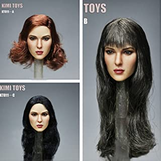 Phicen 1/6 Scale European and American Head Sculpt with Black Hair for 12 Female Body Hot Toys (A-Red Brown Hair)