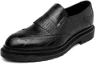 HCP-MX Zapatos de Cuero de la PU para Hombre Zapatos clásicos de Cuero con borlas en la Suela Exterior de Oxfords Forrados.