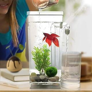 Home Aquarium Supplies Square Plastic Creative Ecological Desktop Mini Aquarium Gold Fish Bowl, Lazy Water Tank with Cobbl...