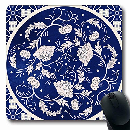 Jamron Mousepad OblongChina Curl Schöne Verpackung Floral Design Blatt zeichnen rundes Muster Papier Vintage Kaiser Texturen rutschfeste Gummi Mauspad Büro Computer Laptop Spiele Mat