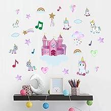Pegatina De Pared De Dibujos Animados Música Castillo Rainbow Unicornio Pegatinas De Pared Para Habitaciones De Niños Hogar Sala De Estar Decoración Mural Wallpaper Decal