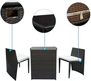 AK Energy Black Patio Wicker Furniture Outdoor 4pc Rattan Sofa Set Garden Conversation Set Lawn Glass Top Table