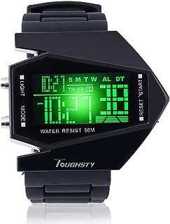 Toughsty™ Cool Children Gift Sport Cuff Watch Airplane Shape Aviator Pilot LED Flashlight Alarm Wristwatch for Kids