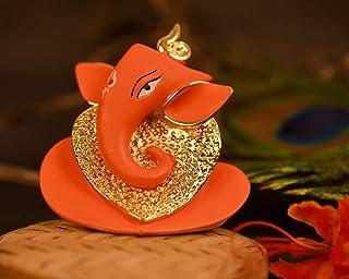 CraftVatika 24 K Gold Plated Red Terracotta Ganesha Statue for Car Dashboard God Ganesh Murti Ganpati Idol Figurine with G...
