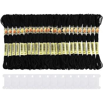 Pllieay - 24 madejas de hilo de bordar de algodón para Halloween, hilo de bordar, hilo de seda con 12 unidades de hilo dental para tejer y punto de cruz: Amazon.es: Hogar