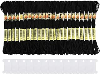 Pllieay 24 Skeins Black Embroidery Threads Halloween Cotton Embroidery Floss Friendship Bracelets Floss with 12 Pieces Floss Bobbins for Knitting, Embroidery Stitching and Cross Stitch Project