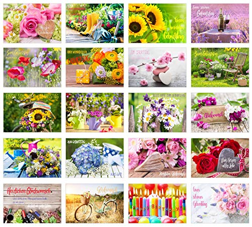 Set 40 exklusive Premium Geburtstagskarten mit Umschlag (2x20). Glückwunschkarte Grusskarte zum Geburtstag. Geburtstagskarte Mann Frau (Doppelkarten/Klappkarten)