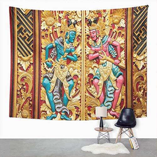 Y·JIANG Tapiz decorativo para puerta de edificio de Indonesia Balinesa Multicolor para dormitorio del hogar, gran tapiz de pared para colgar en la sala de estar, dormitorio, 80 x 60 pulgadas
