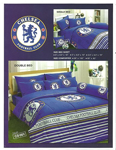 CHELSEA Football Club Bed Fitted Sheet Set (Twin size, CS001) 3 Pieces Set : 1 Bed Fitted Sheet, 1 Standard Pillow Case and 1 Standard Bolster Case