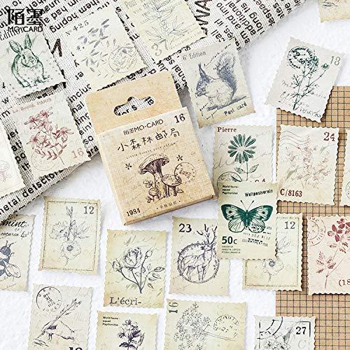 PMSMT 45 Unids/Pack Forest Story Vintage Adhesivos Decorativos Pegatinas Scrapbooking DIY Diario Álbum Etiqueta de Palo para Regalo
