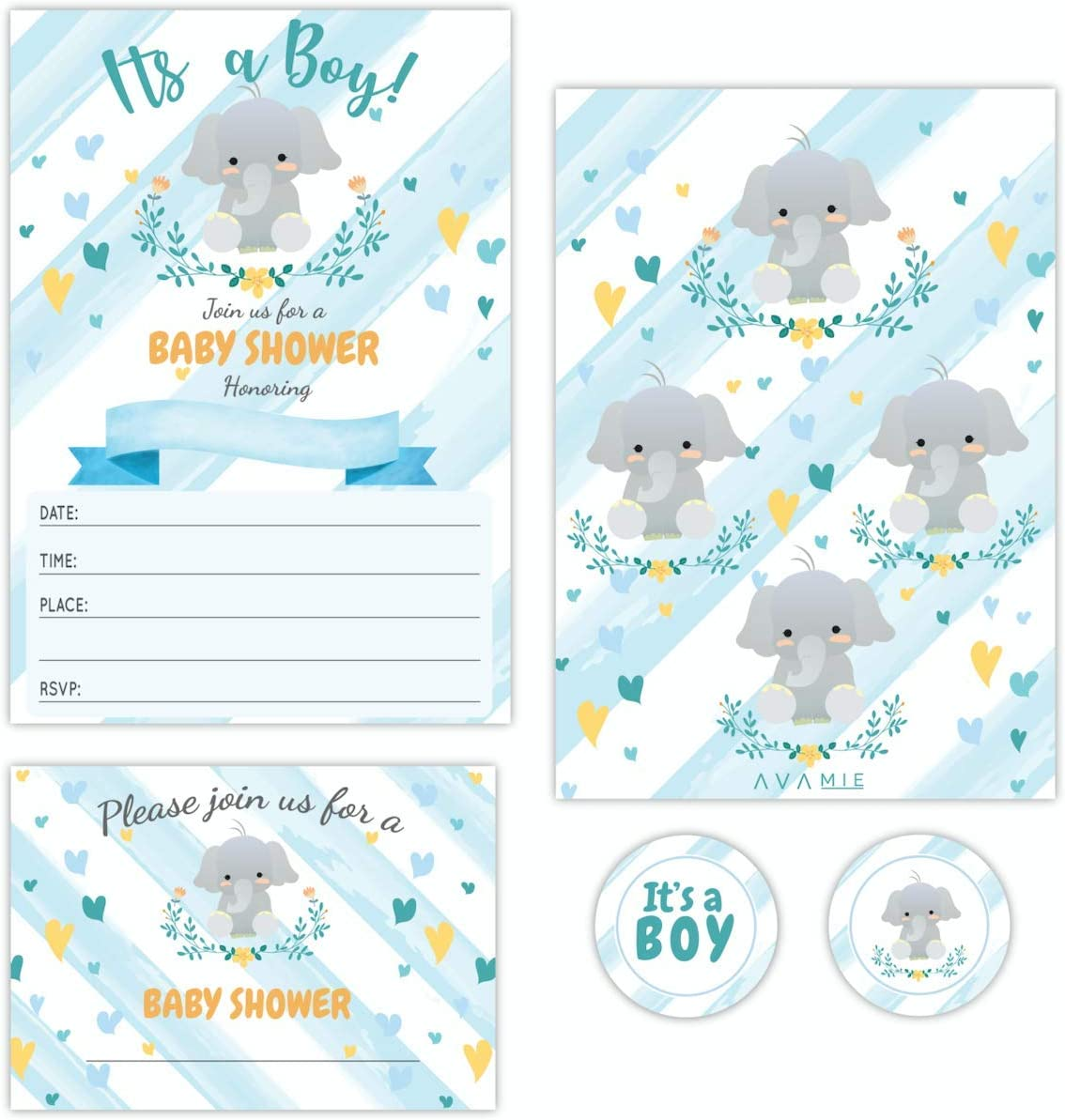 Avamie 20 Pack It's A Boy Blue Elephant Baby Shower Invitations with Envelopes and Stickers, Baby Shower Invitations For Boys