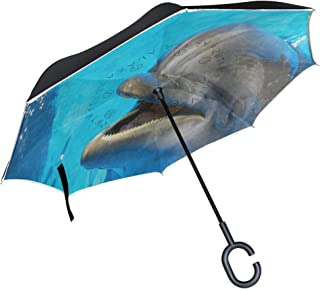 Inverted Umbrella Cute Dolphin Blue Water Reverse Umbrella UV Protection Windproof for Car Rain Sun Outdoor Black