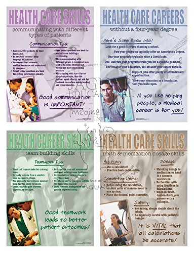 Jaguar Educational Health Care Careers Without a Four Year Degree - Series of 4 Laminated Posters Includes Communicating with Patients, Team Building Skills and Dosage Information