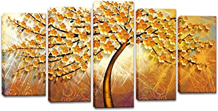 "Innopics 5 Piece Large Canvas Wall Art Golden Flower Blooming Tree Picture Giclee Print Vintage Oil Painting Reproduction Modern Home Floral Decor Framed for Bedroom Living Room Decoration 60""W x 32"