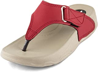 WELCOME Women Red Leather Flip-Flops-8 UK/India (41 EU) (RedHF-13_8)