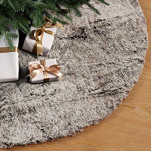 GMOEGEFT Christmas Tree Skirt 32 Inches Brown Plush Faux Fur Xmas Holiday Decorations Ornaments