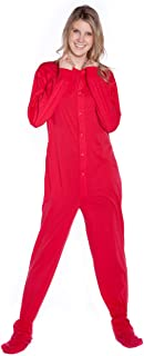 Big Feet Pajama Red Cotton Jersey Knit Adult Footed Onesie Pajamas for Men & Women