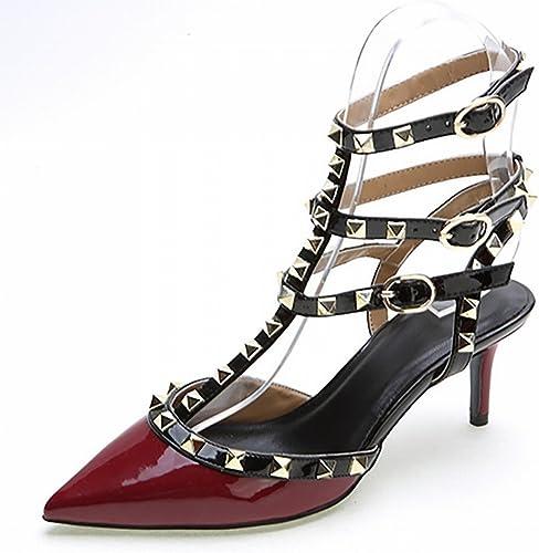 CXY Les Chaussures des Femmes, Occidental Pointy Couleur Unie 3 avec Un Rivet Chaussures en Cuir Verni, des Chaussures à Talons Hauts de la Mode des Femmes,Ré,39