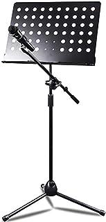 ASDASD Soporte de micrófono Plegable Soporte de Hoja y música Soporte de Viaje portátil de Metal Soporte de música Plegable Ajustable Negro