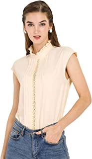 Allegra K Women's Work Casual Crochet Insert Pleated Plain Cap Sleeve Blouse
