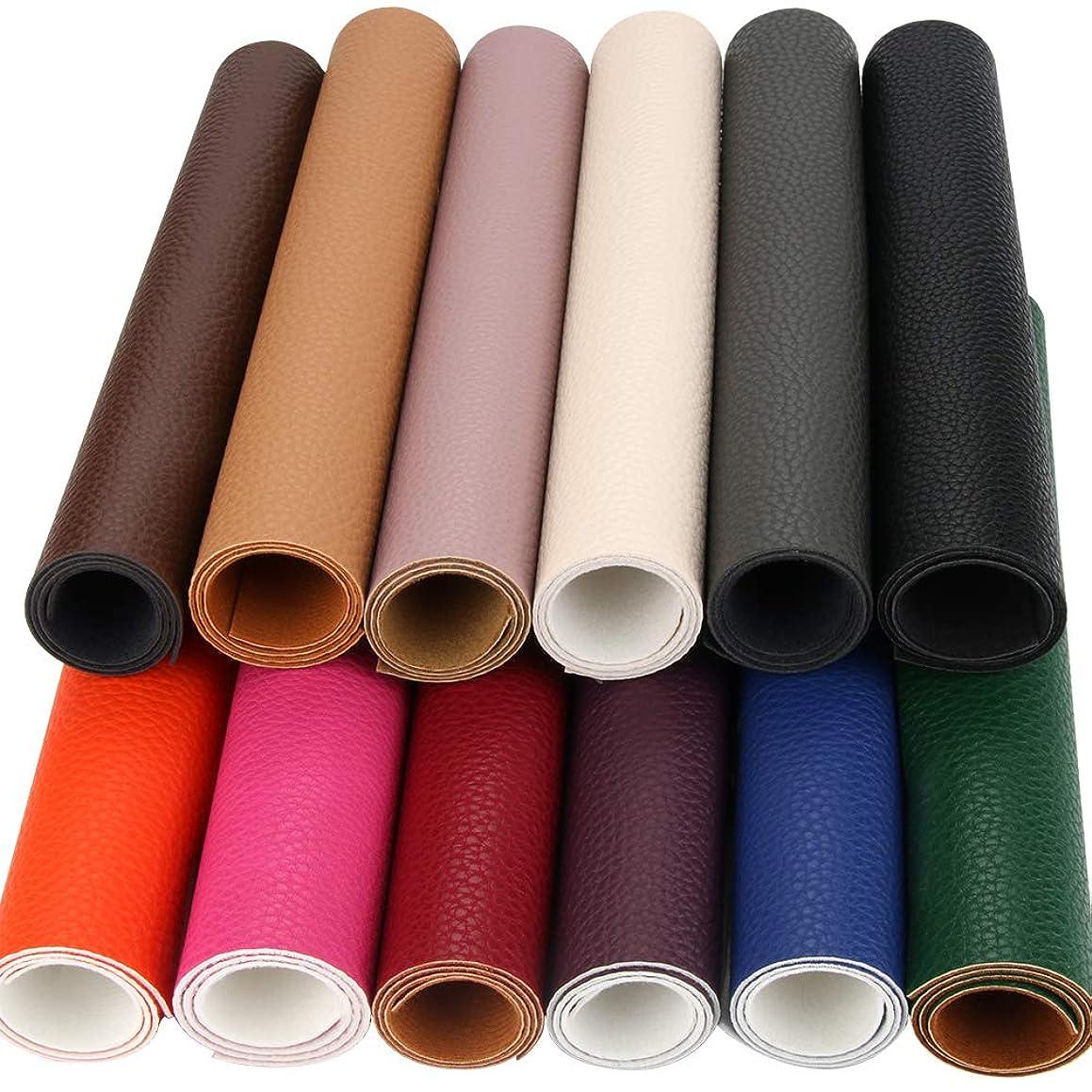 12 PCS PU Leather Fabric Leather Canvas Back 8