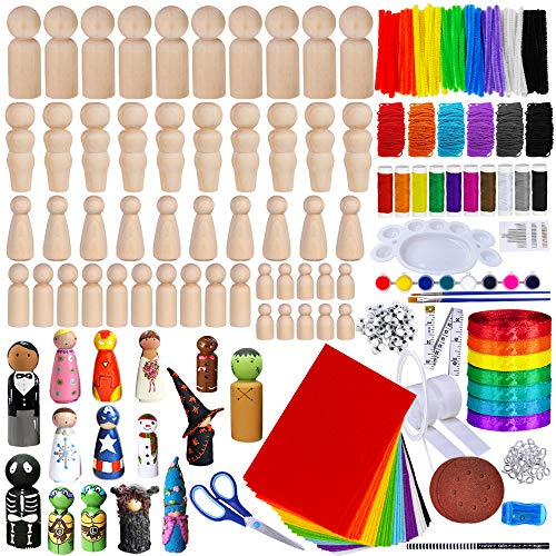 50 Sets Assorted Unfinished Wooden Peg Doll Bodies Family Doll Bodies Craft Kit 5 Natural Solid Wood Toy People Shapes DIY Wood Craft Supplies fos Nativity Scene Doll House Family Portrai Ativity
