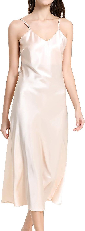 Lu's Chic Women's Long Nightgown Satin Sleepwear Cami Nightshirt Sleep Shirt Sleeveless Midi