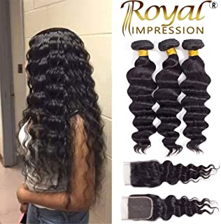 Brazilian Virgin Loose Wave 3 Bundles with Closure Free Part Natural Color 10A Unprocessed Virgin Remy Human Hair Bundles with Lace Closure (18