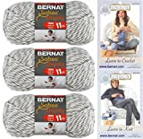 Bernat Softee Chunky Yarn Bundle Super Bulky #6, 3 Skeins Grey Ragg Twist 28047 with Knitting and Crochet Instructions