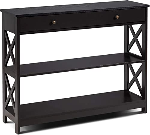 discount Giantex Console Table 3-Tier W/Drawer outlet online sale and Storage Shelves, X-Design Entryway Table for Hallway, Living Room outlet sale and Bedroom Sofa Side Table (Espresso) outlet online sale