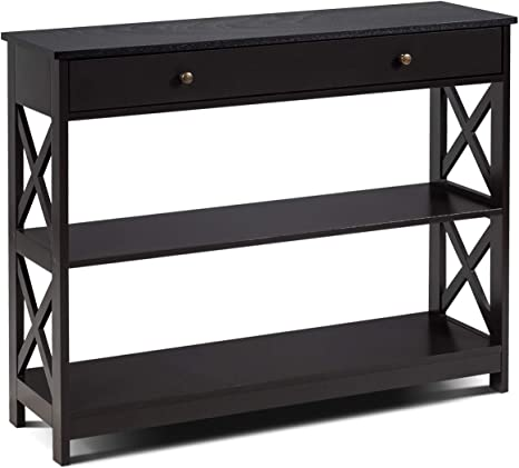 Giantex Console Table 13-Tier W/Drawer and Storage Shelves, X-Design  Entryway Table for Hallway, Living Room and Bedroom Sofa Side Table  (Espresso)
