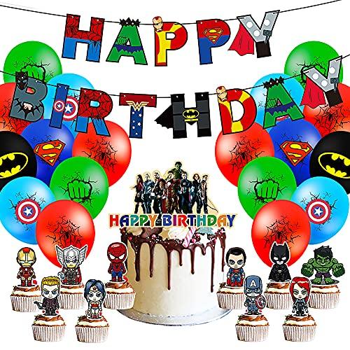 CYSJ Suministros de Fiesta Temáticos de Los Vengadores, 27 Pcs Decoraciones de Fiesta de cumpleaños de superhéroe, Equipo Americano Spider-Man del Pancarta,Decoracion Cumpleaños Superheroes