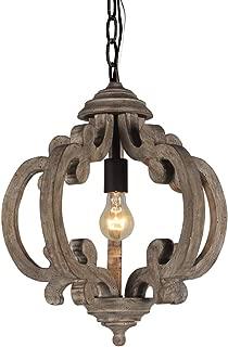 DOCHEER Rustic Wooden Chandelier Farmhouse 1-Light Wood Metal Chandeliers, Ceiling Pendant Hanging Lamp Lighting Fixture for Dining Room, Bedroom, Living Room Lights