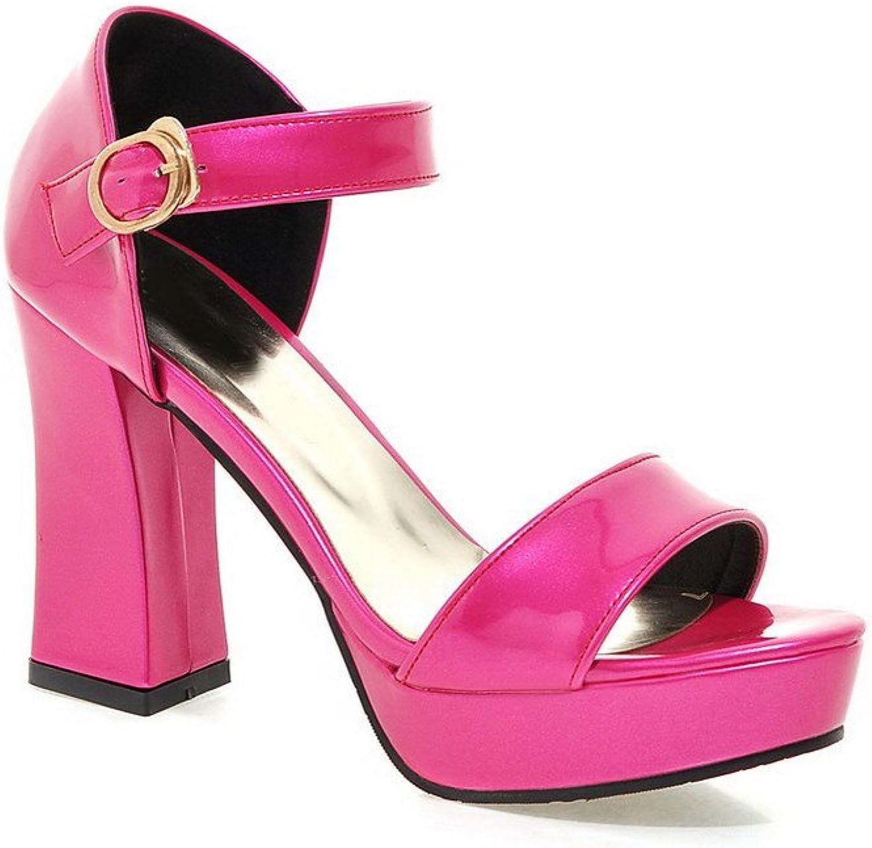 AllhqFashion Women's Pu High-Heels Open-Toe Solid Buckle Heeled-Sandals