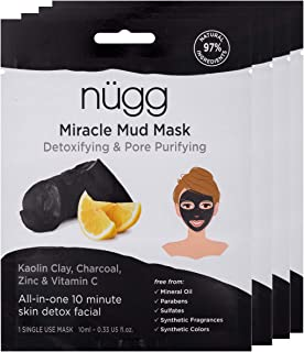 nügg Miracle Mud Mask - Pack of 4; 4 x Natural & Vegan Face Masks for Acne, Blackheads & Oily Skin; with Charcoal, Vitamin C, Kaolin Clay, and Lactic Acid to Cleanse, Unclog Pores and Brighten Skin