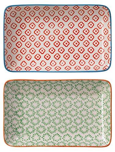 Bloomingville Servierplatten rechteckige Teller Emma 2er Set grün-rot