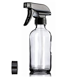 Glass Spray Bottles with Labels, AQwzh Clear Empty Refillable Container with Durable Black Trigger Sprayer w/Mist and Stream Settings for Mixing Essential Oils, Homemade (clear-01)