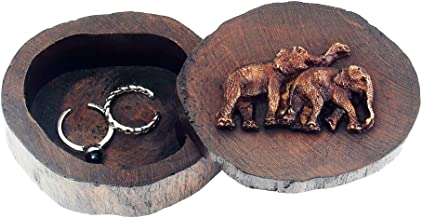 DesignSter Wooden Double Ring Box, Antique Elephant Rustic Handmade Round Jewelry Storage Case, Small Wood Jewelry Organizer for Wedding, Engagement, Anniversary(S)