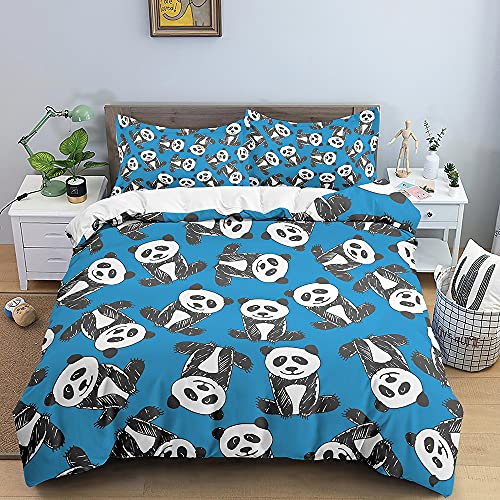 Cartoon Panda Pattern Home Textiles Bedding Set Cute Animal Print Soft Kids Lake Blue Duvet Cover Queen King Size Soft Comforter Set Double Single The Comfy for Girl Boy Teens,Twin